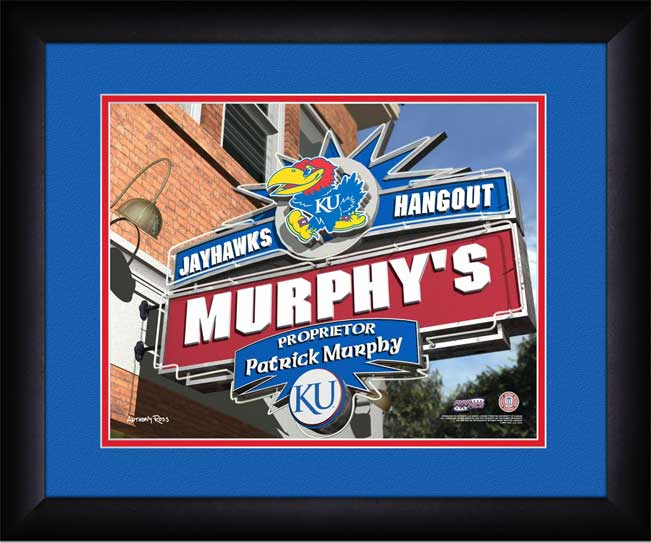College - Kansas Jayhawks - Personalized Hangout Sign - Framed Picture
