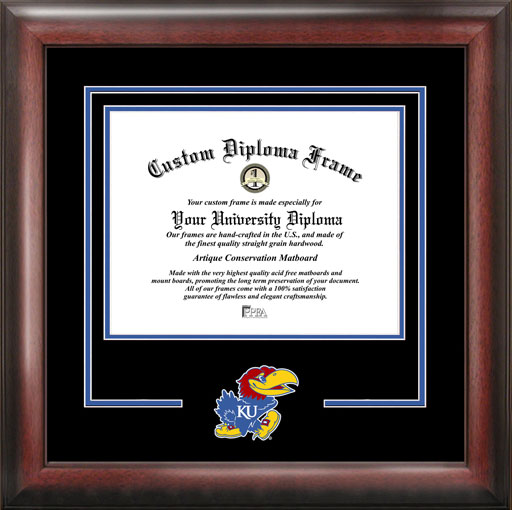 College - University of Kansas Jayhawks - College Mascot - Spirit Mat Cutout - Diploma Frame