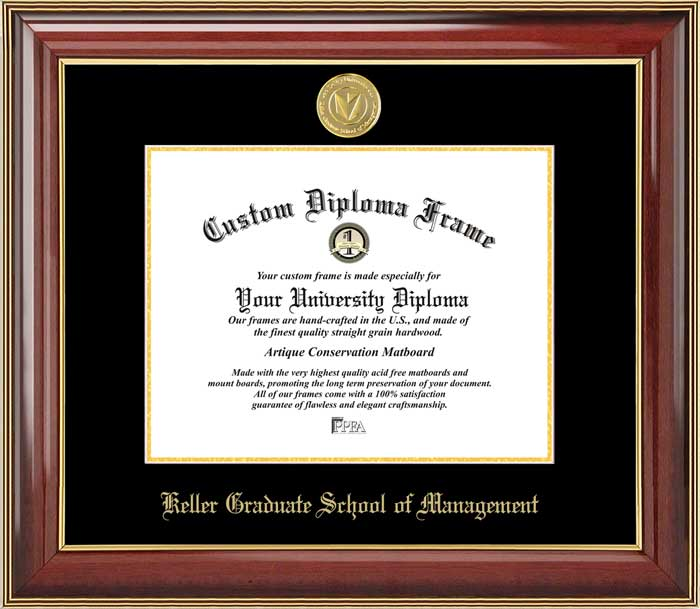 College - Keller Graduate School of Management  - Gold Medallion - Mahogany Gold Trim - Diploma Frame