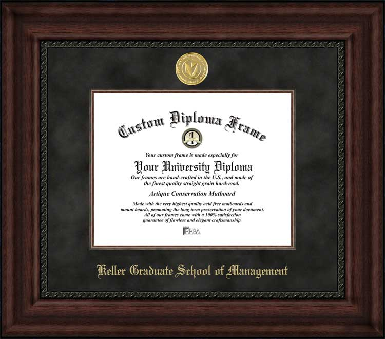 College - Keller Graduate School of Management  - Gold Medallion - Suede Mat - Mahogany - Diploma Frame