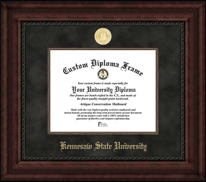 College - Kennesaw State University Owls - Gold Medallion - Suede Mat - Mahogany - Diploma Frame