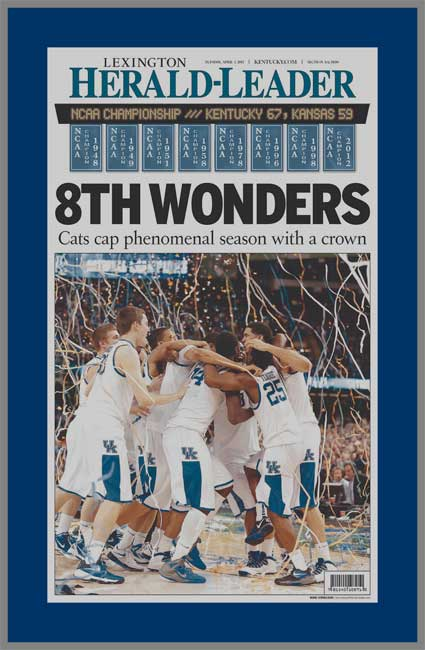College - Kentucky Wildcats - 8th Wonders - NCAA Champions 2011-12 - Wood Mounted & Laminated Newspaper