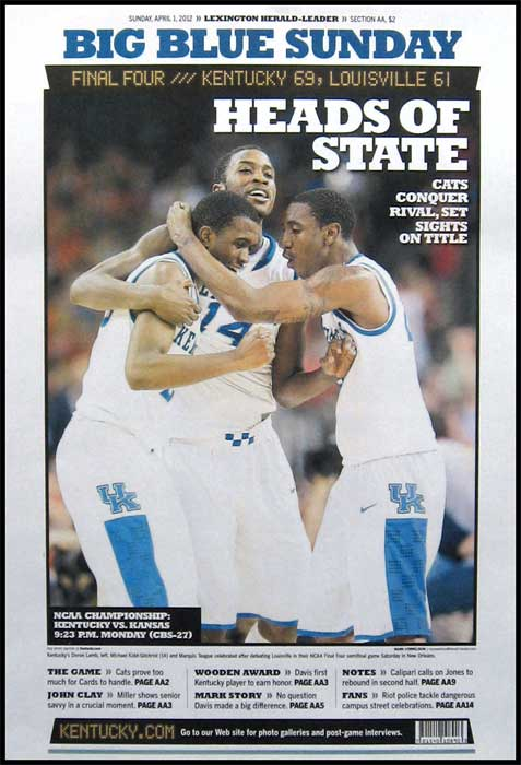 College - Kentucky Wildcats - Final Four 2012 - Heads of State - Plaque Mounted & Laminated Print