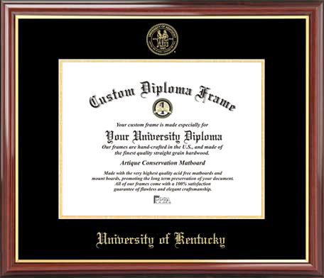 College - Kentucky Wildcats - Embossed Seal - Mahogany Gold Trim - Diploma Frame