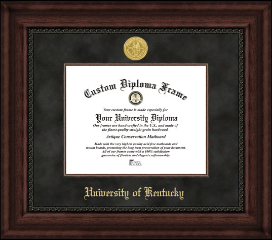 College - University of Kentucky Wildcats - Gold Medallion - Suede Mat - Mahogany - Diploma Frame