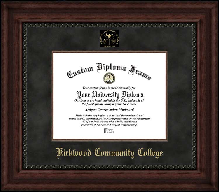 College - Kirkwood Community College Eagles - Embossed Seal - Suede Mat - Mahogany - Diploma Frame