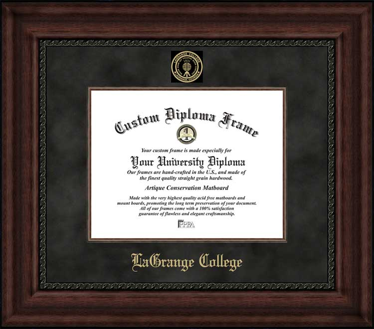 College - LaGrange College Panthers - Embossed Seal - Suede Mat - Mahogany - Diploma Frame