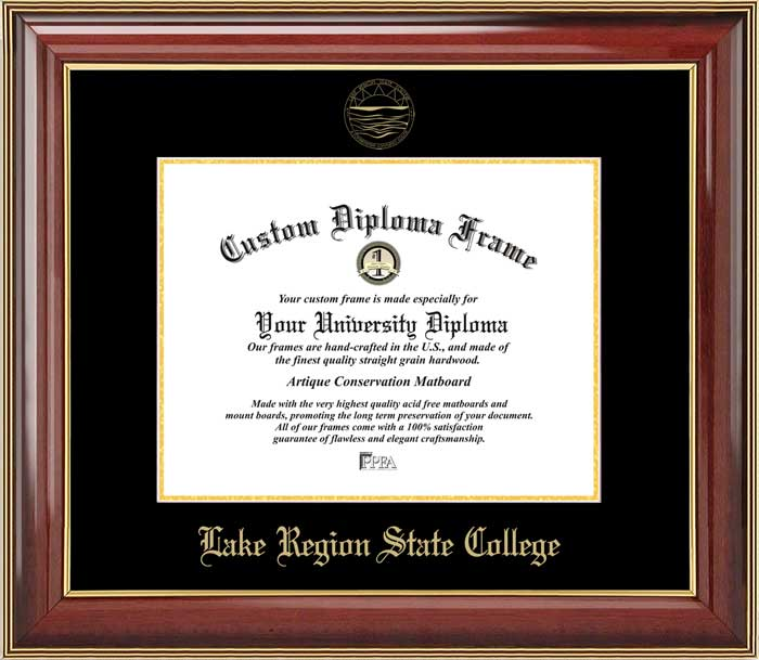 College - Lake Region State College Royals - Embossed Seal - Mahogany Gold Trim - Diploma Frame