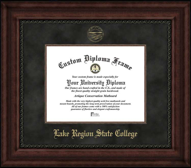 College - Lake Region State College Royals - Embossed Seal - Suede Mat - Mahogany - Diploma Frame