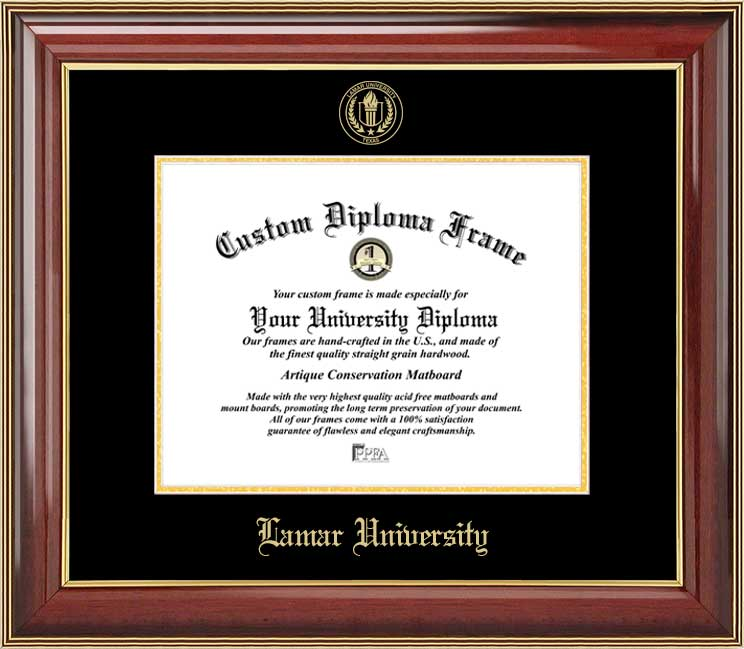 College - Lamar University Cardinals - Embossed Seal - Mahogany Gold Trim - Diploma Frame