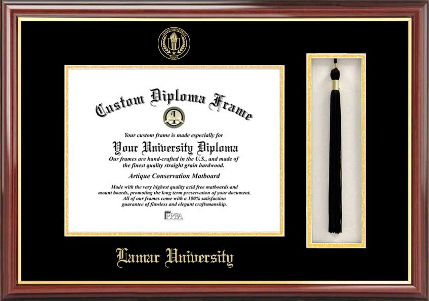 College - Lamar University Cardinals - Embossed Seal - Tassel Box - Mahogany - Diploma Frame