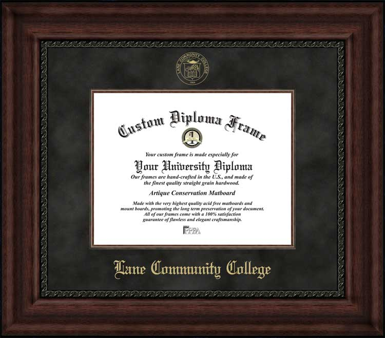 College - Lane Community College Titans - Embossed Seal - Suede Mat - Mahogany - Diploma Frame