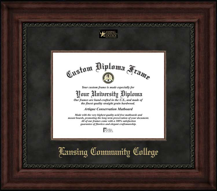 College - Lansing Community College Stars - Embossed Logo - Suede Mat - Mahogany - Diploma Frame