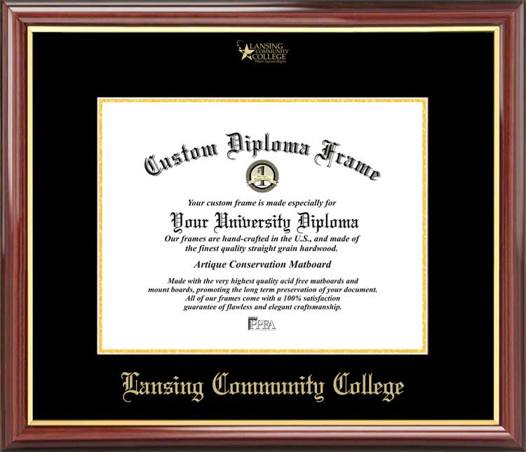 College - Lansing Community College Stars - Embossed Logo - Mahogany Gold Trim - Diploma Frame