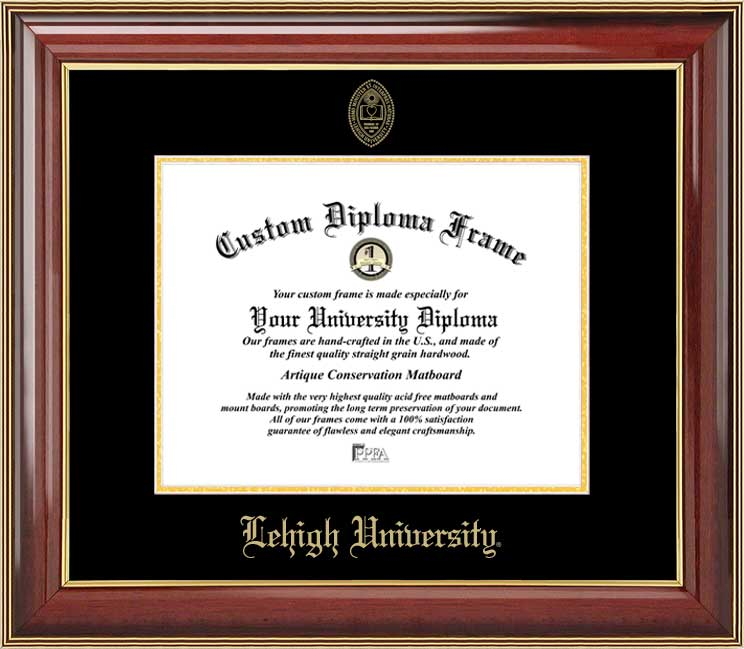 College - Lehigh University Mountain Hawks - Embossed Seal - Mahogany Gold Trim - Diploma Frame