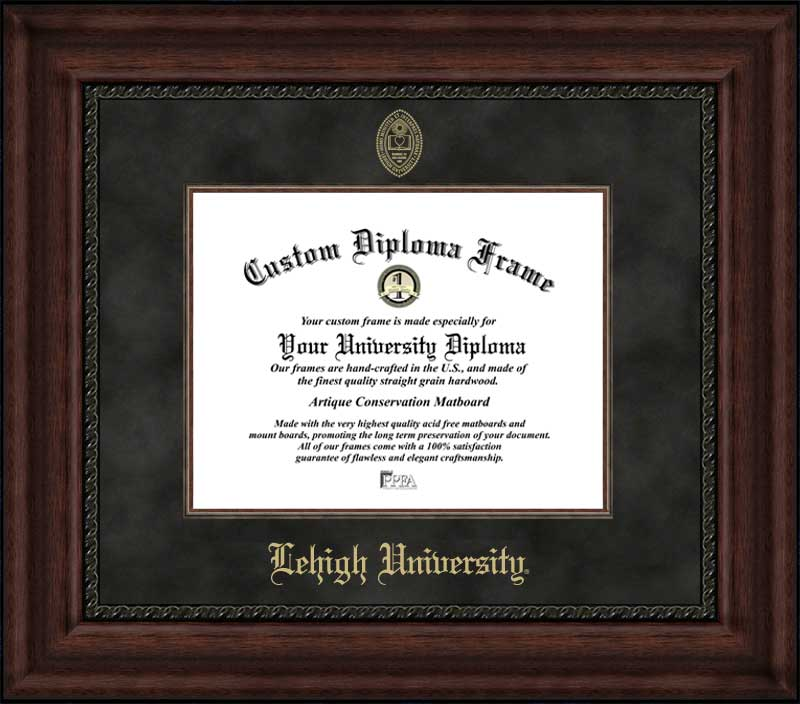 College - Lehigh University Mountain Hawks - Embossed Seal - Suede Mat - Mahogany - Diploma Frame