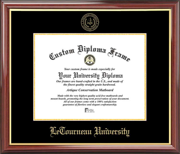 College - LeTourneau University YellowJackets - Embossed Seal - Mahogany Gold Trim - Diploma Frame
