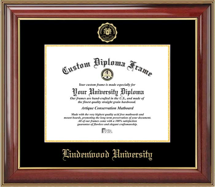College - Lindenwood University Lions - Embossed Seal - Mahogany Gold Trim - Diploma Frame