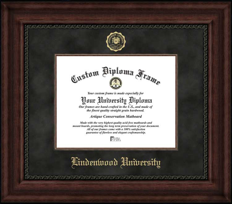 College - Lindenwood University Lions - Embossed Seal - Suede Mat - Mahogany - Diploma Frame