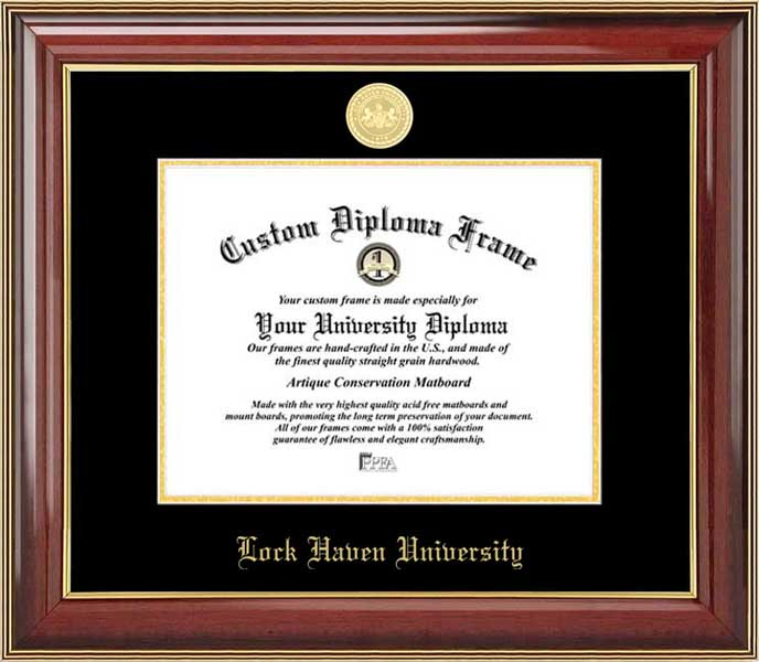 College - Lock Haven University Bald Eagles - Gold Medallion - Mahogany Gold Trim - Diploma Frame