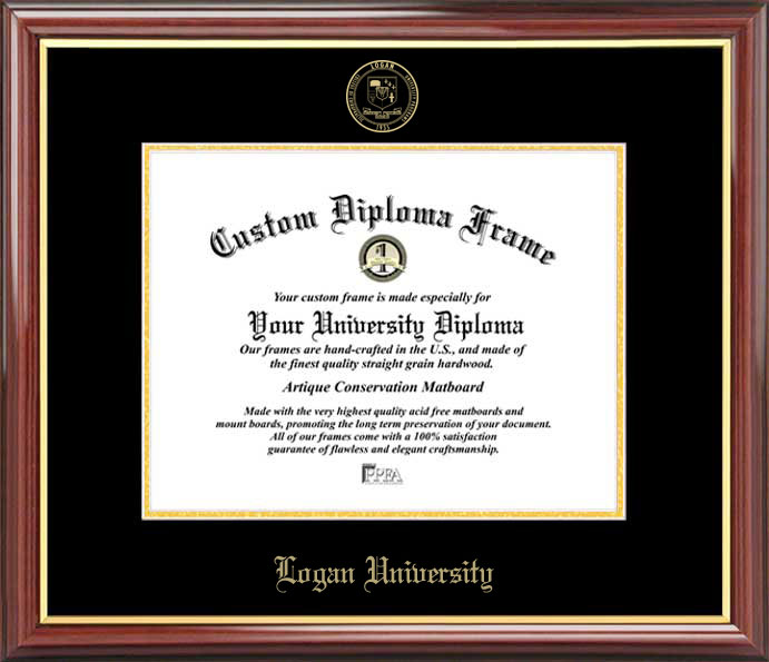 College - Logan University  - Embossed Seal - Mahogany Gold Trim - Diploma Frame