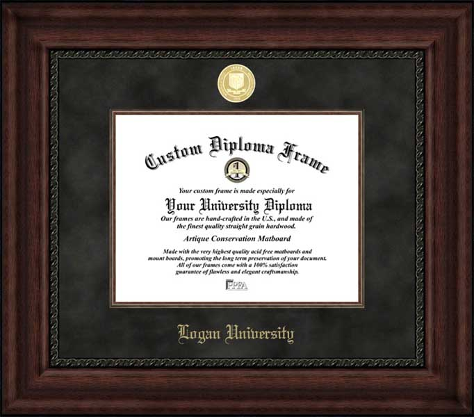 College - Logan University  - Gold Medallion - Suede Mat - Mahogany - Diploma Frame