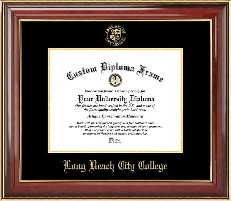 College - Long Beach City College Vikings - Embossed Seal - Mahogany Gold Trim - Diploma Frame