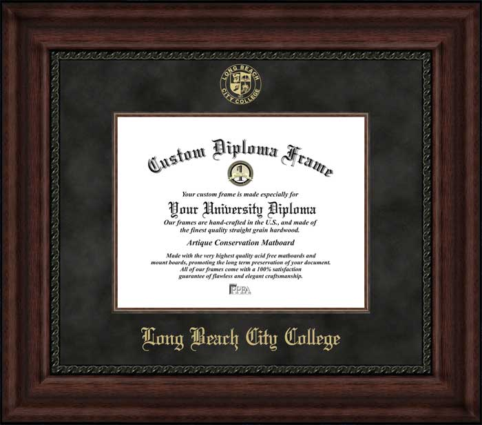 College - Long Beach City College Vikings - Embossed Seal - Suede Mat - Mahogany - Diploma Frame