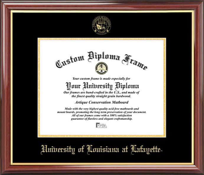 College - University of Louisiana at Lafayette Ragin Cajuns - Embossed Seal - Mahogany Gold Trim - Diploma Frame