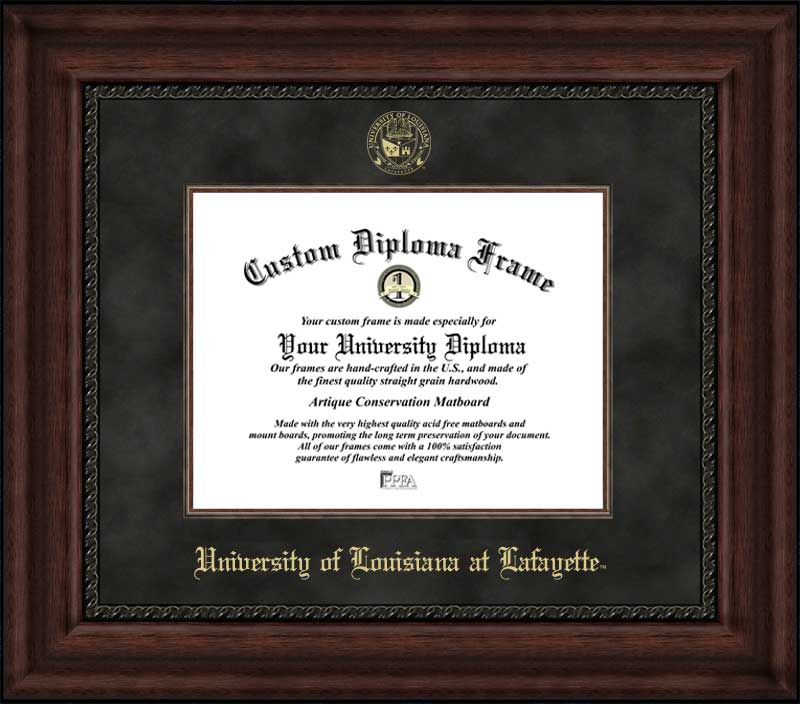 College - University of Louisiana at Lafayette Ragin Cajuns - Embossed Seal - Suede Mat - Mahogany - Diploma Frame