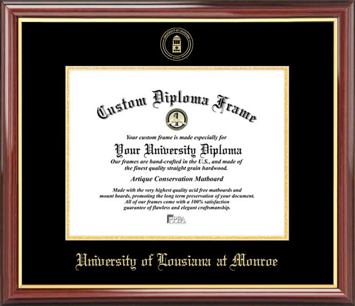 College - University of Louisiana at Monroe Warhawks - Embossed Seal - Mahogany Gold Trim - Diploma Frame