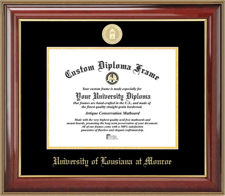 College - University of Louisiana at Monroe Warhawks - Gold Medallion - Mahogany Gold Trim - Diploma Frame