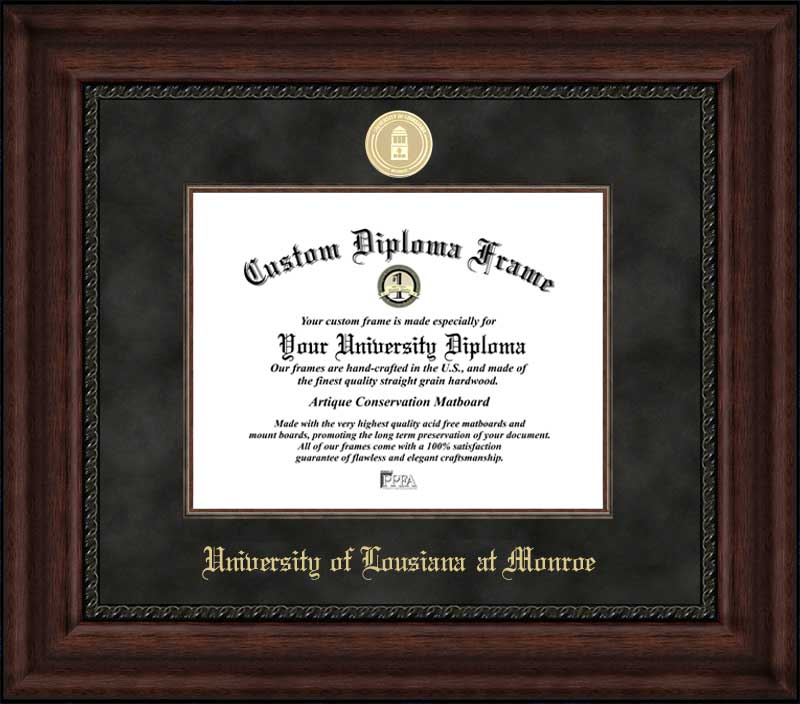 College - University of Louisiana at Monroe Warhawks - Gold Medallion - Suede Mat - Mahogany - Diploma Frame