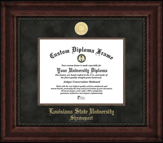 College - Louisiana State University Shreveport Pilots - Gold Medallion - Suede Mat - Mahogany - Diploma Frame