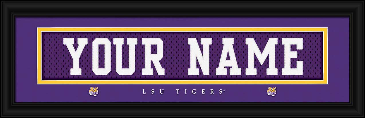 College - Louisiana State Tigers - Personalized Jersey Nameplate - Framed Picture