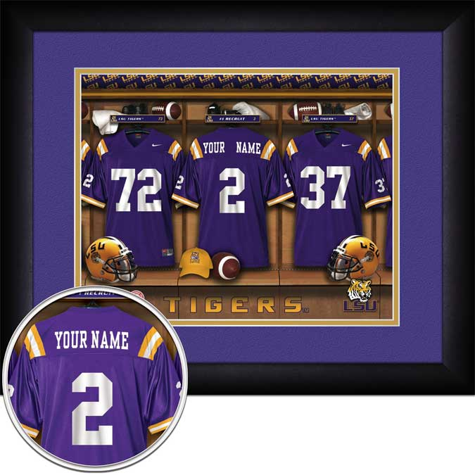 College - Louisiana State Tigers - Personalized Locker Room - Framed Picture