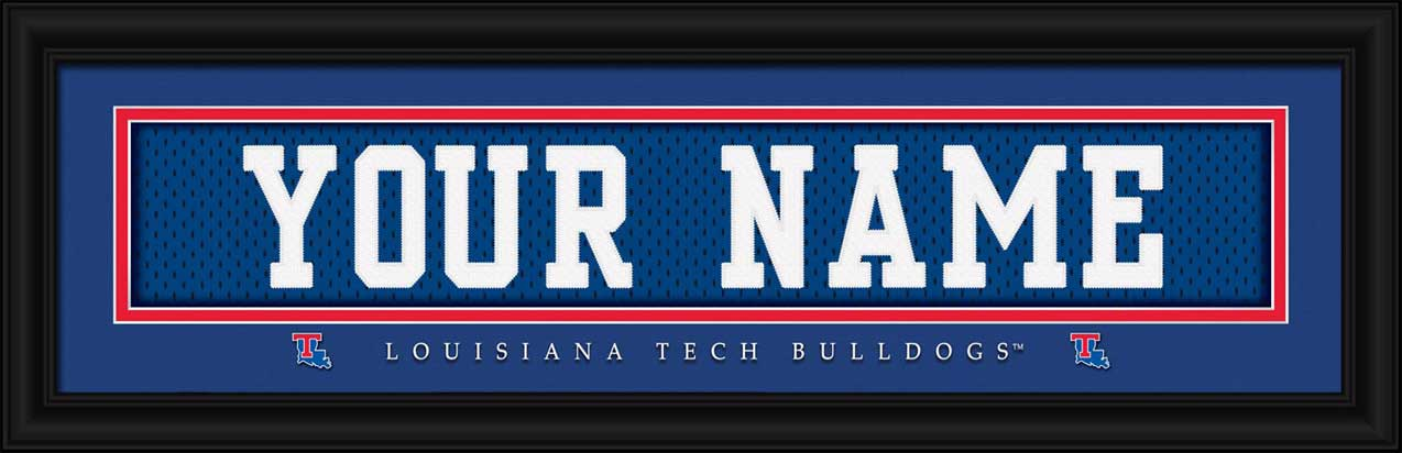 College - Louisiana Tech Bulldogs - Personalized Jersey Nameplate - Framed Picture