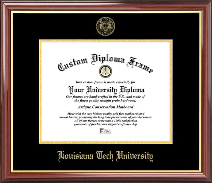 College - Louisiana Tech University Bulldogs - Embossed Seal - Mahogany Gold Trim - Diploma Frame