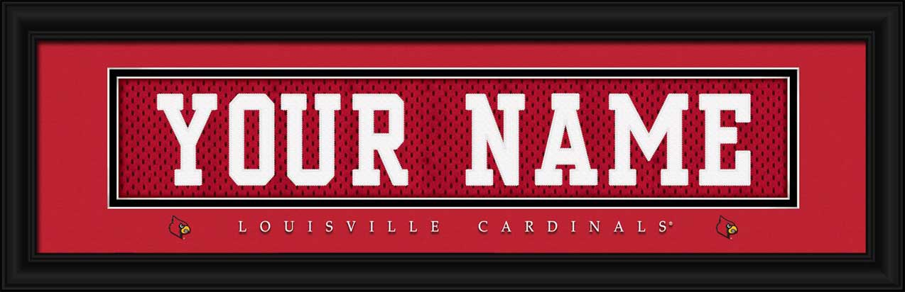 College - Louisville Cardinals - Personalized Jersey Nameplate - Framed Picture