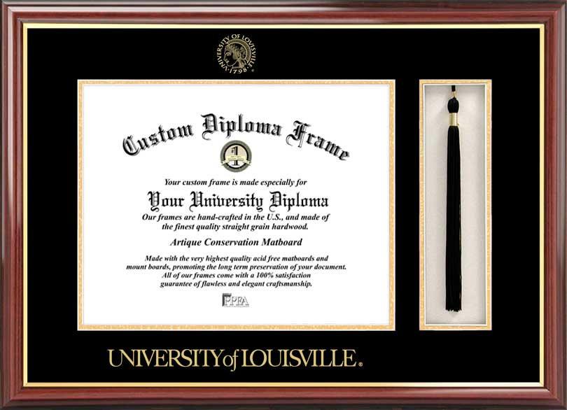 College - University of Louisville Cardinals - Embossed Seal - Tassel Box - Mahogany - Diploma Frame