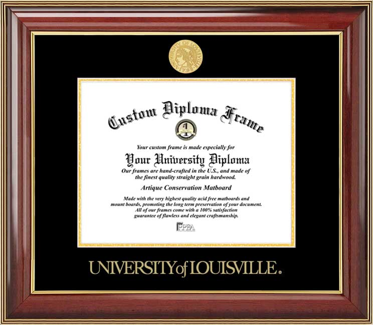 College - University of Louisville Cardinals - Gold Medallion - Mahogany Gold Trim - Diploma Frame