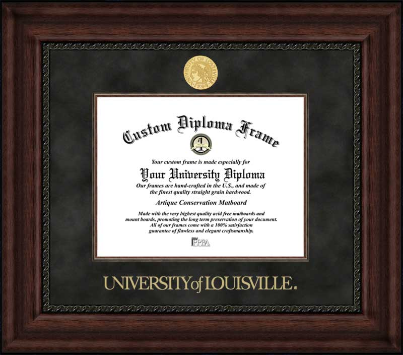 College - University of Louisville Cardinals - Gold Medallion - Suede Mat - Mahogany - Diploma Frame