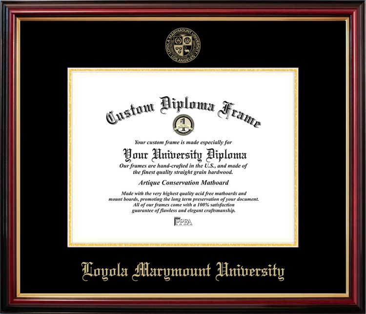 College - Loyola Marymount University Lions - Embossed Seal - Mahogany Gold Trim - Diploma Frame