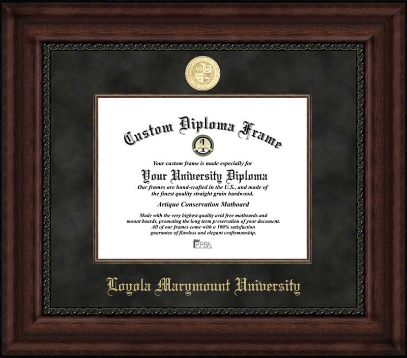 College - Loyola Marymount University Lions - Gold Medallion - Suede Mat - Mahogany - Diploma Frame