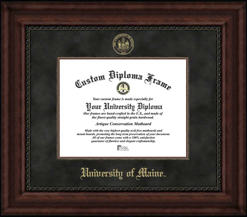 College - University of Maine at Orono Black Bears - Embossed Seal - Suede Mat - Mahogany - Diploma Frame