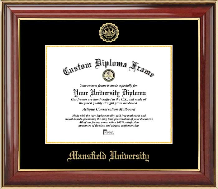 College - Mansfield University Mountaineers - Embossed Seal - Mahogany Gold Trim - Diploma Frame