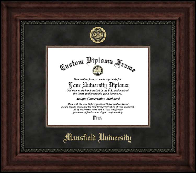 College - Mansfield University Mountaineers - Embossed Seal - Suede Mat - Mahogany - Diploma Frame