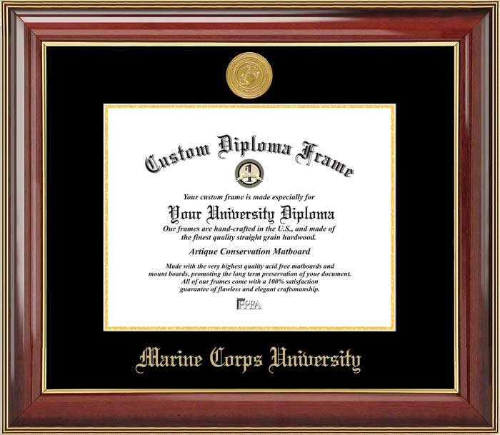 College - Marine Corps University  - Gold Medallion - Mahogany Gold Trim - Diploma Frame