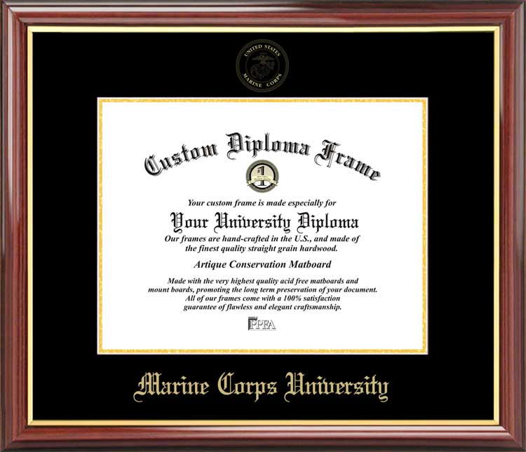College - Marine Corps University  - Embossed Seal - Mahogany Gold Trim - Diploma Frame