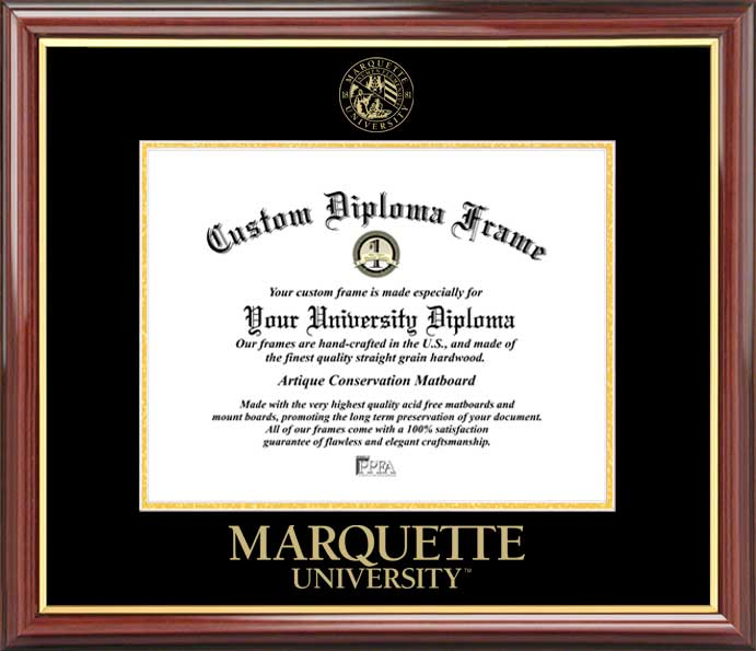 College - Marquette University Golden Eagles - Embossed Seal - Mahogany Gold Trim - Diploma Frame